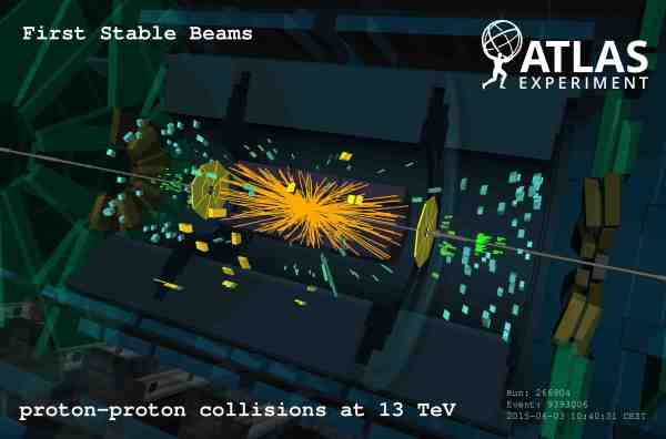 ATLAS event display from first stable beams in Run 2 on 2015-06-03 https://twiki.cern.ch/twiki/bin/view/AtlasPublic/EventDisplayRun2Collisions